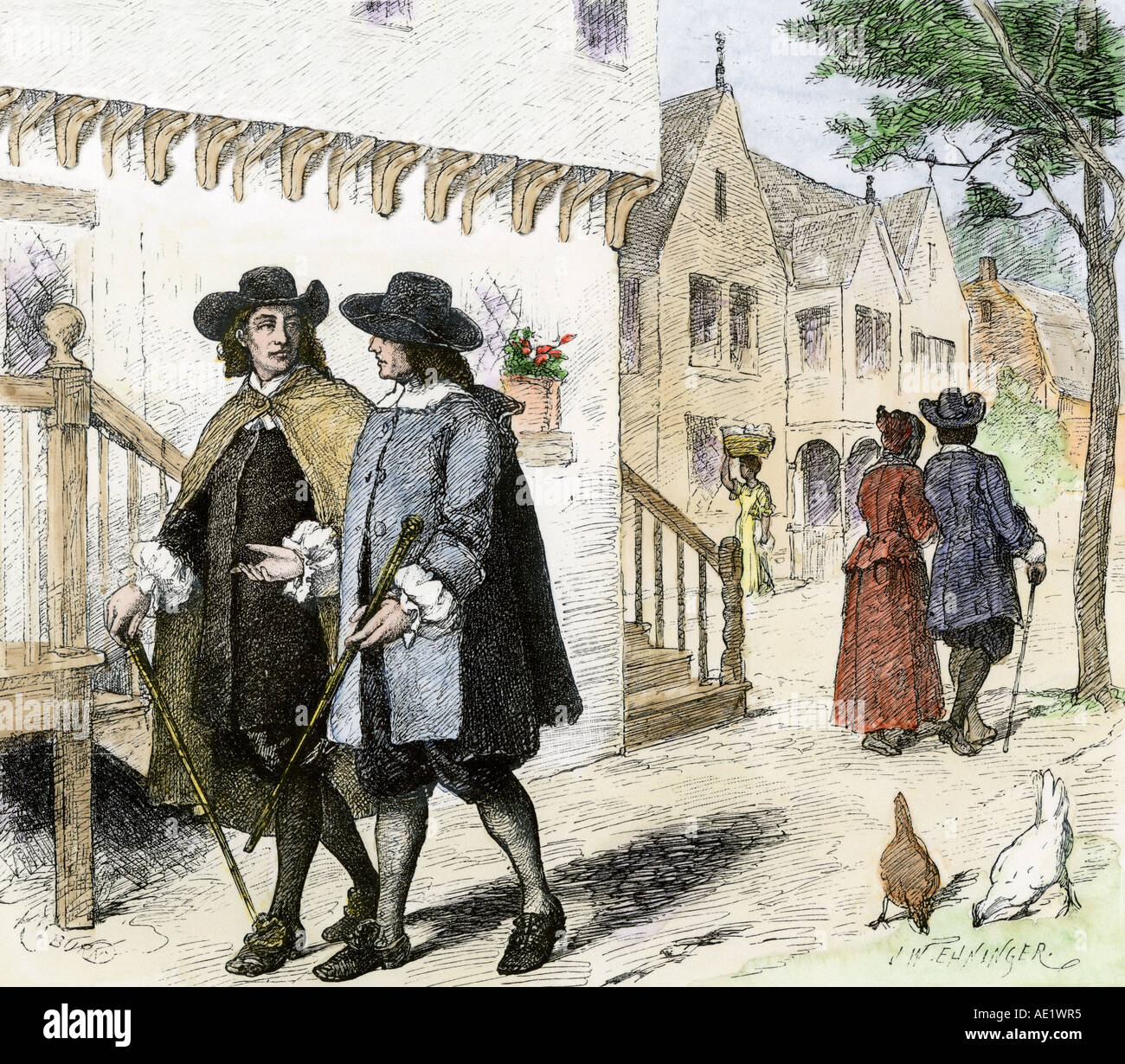 Colonists In A Puritan Town In New England In The Late
