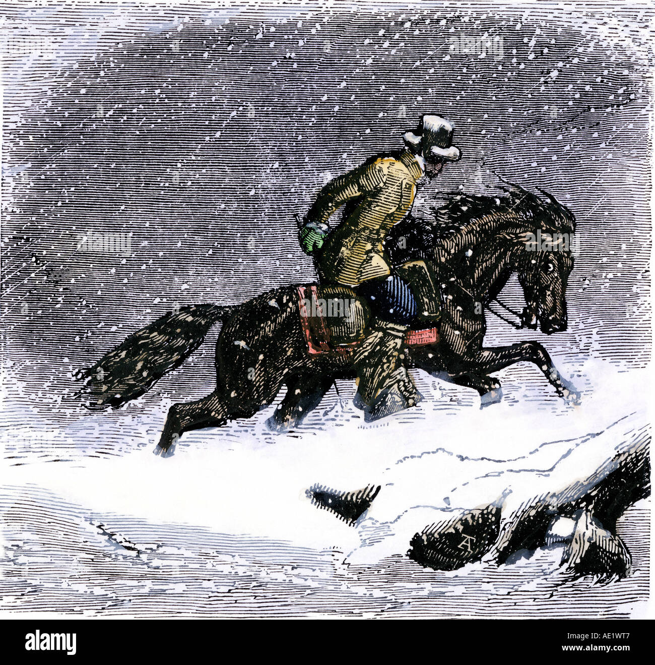 Pony Express rider in a Rocky Mountain snowstorm 1800s - Stock Image