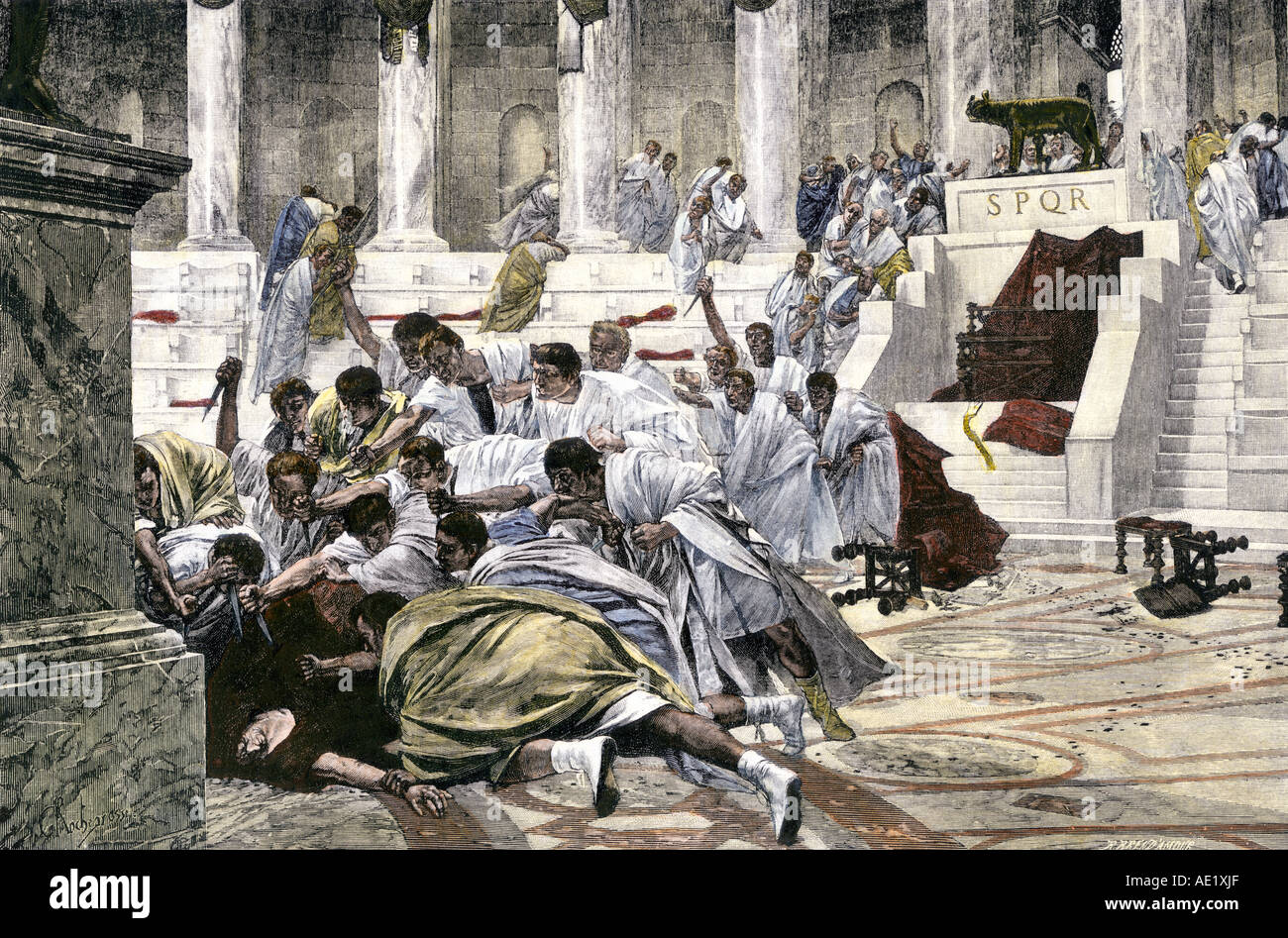 Julius Caesar assassinated in the Roman Senate 44 BC. Hand-colored woodcut - Stock Image