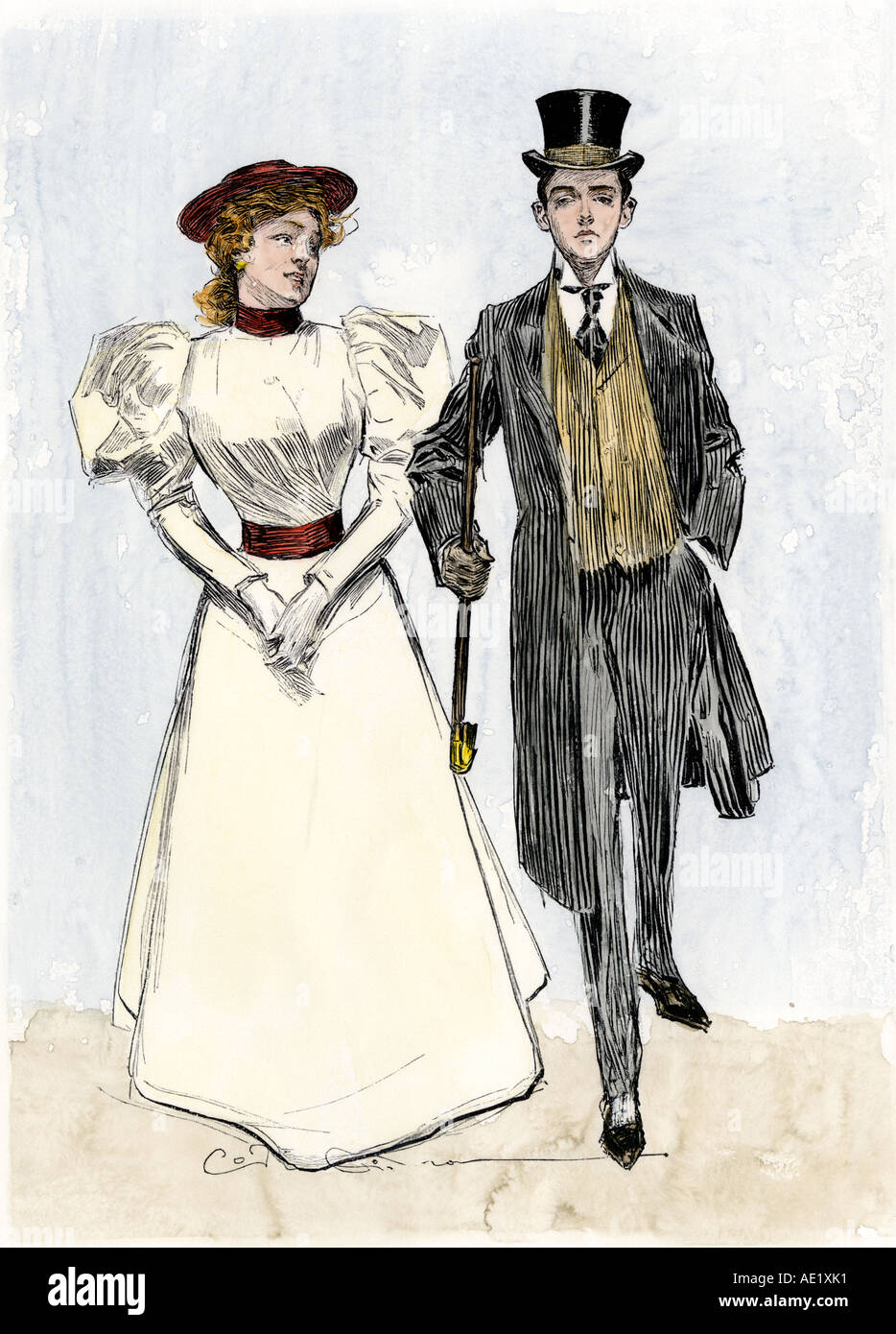 Fashionable young couple in the1890s. Hand-colored woodcut of a Charles Dana Gibson illustration - Stock Image