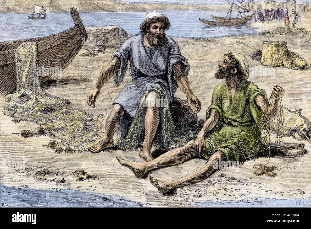 Peter and Andrew mending their nets by the Sea of Galilee before becoming disciples of Jesus. Hand-colored woodcut - Stock Image