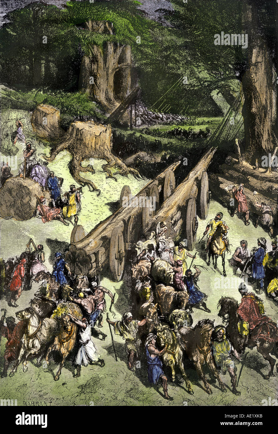 King Hiram of Tyre brings men to help the Israelites cut cedar trees to rebuild the temple of Solomon in Jersalem. Hand-colored woodcut - Stock Image