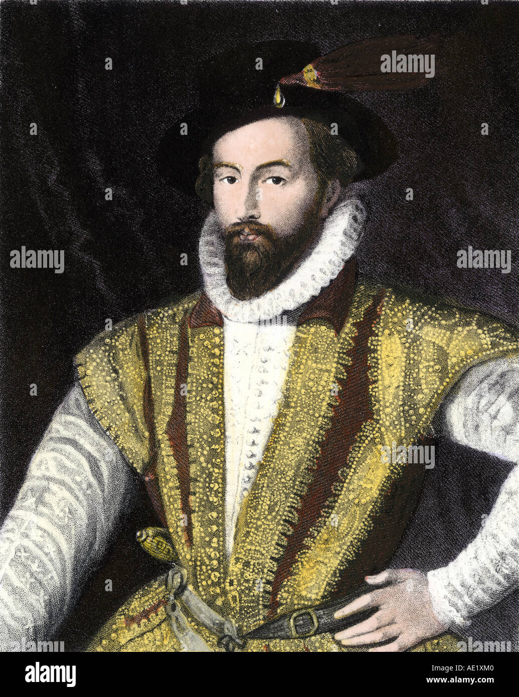 Sir Walter Raleigh. Hand-colored steel engraving - Stock Image