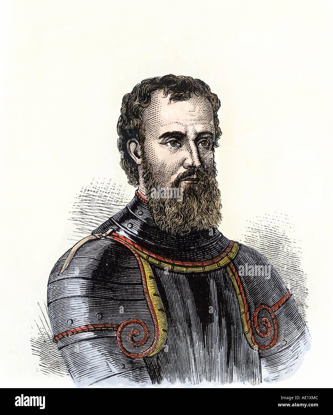 Giovanni da Verrazano. Hand-colored woodcut - Stock Image
