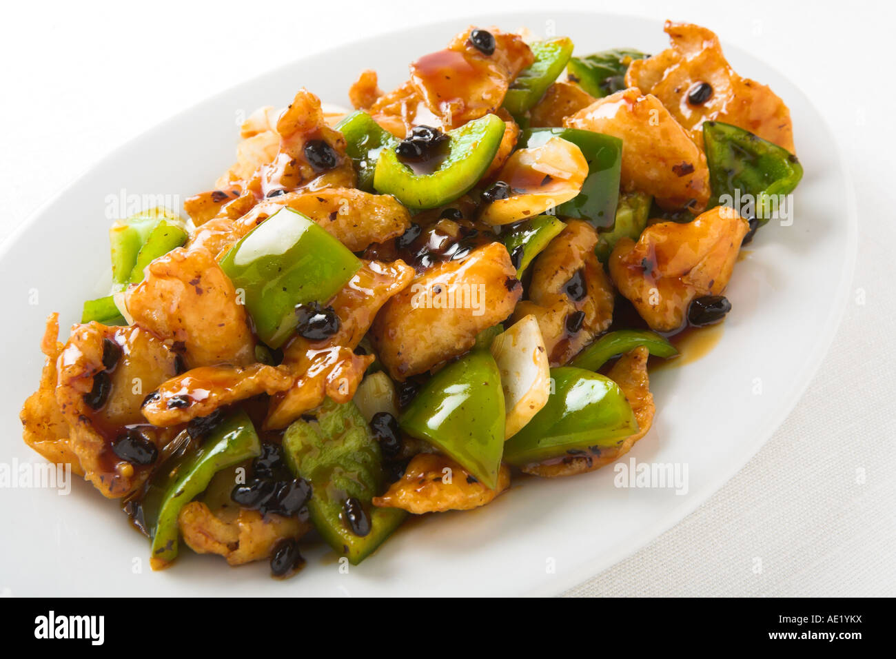 Black Bean Chicken chinese food with green pepper and onion - Stock Image