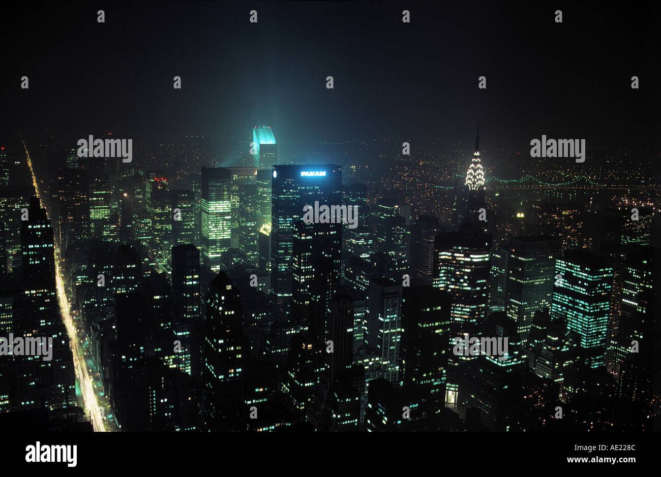 neon letters of panam skyline city of new york at night state of new york usa - Stock Image