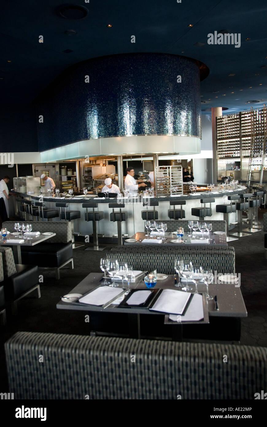 Minnesota Twin Cities Minneapolis Saint Paul Cue restaurant at Guthrie Theater - Stock Image