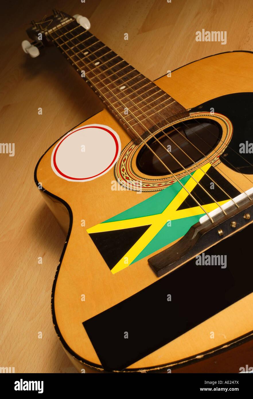 Jamaican  reggae rasta guitar - Jamaica - Stock Image