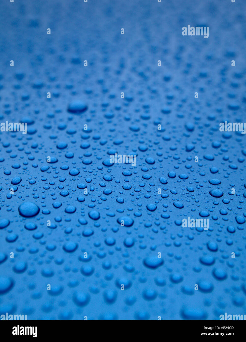 WATER DROPLETS ON BLUE METALLIC SURFACE - Stock Image