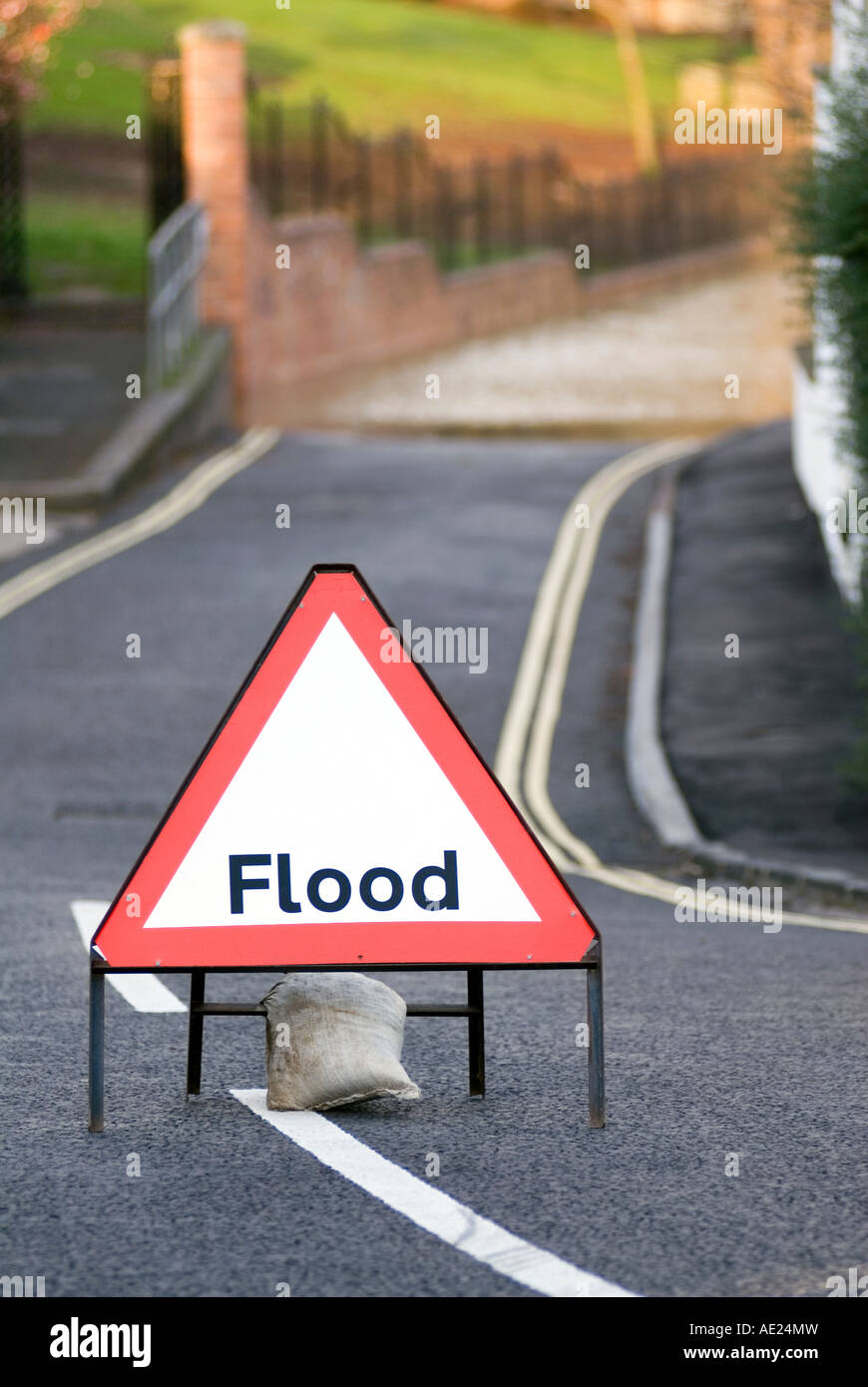 UK flooded flood road street closed in Newport Pagnell near Milton Keynes City of Milton Keynes - Stock Image