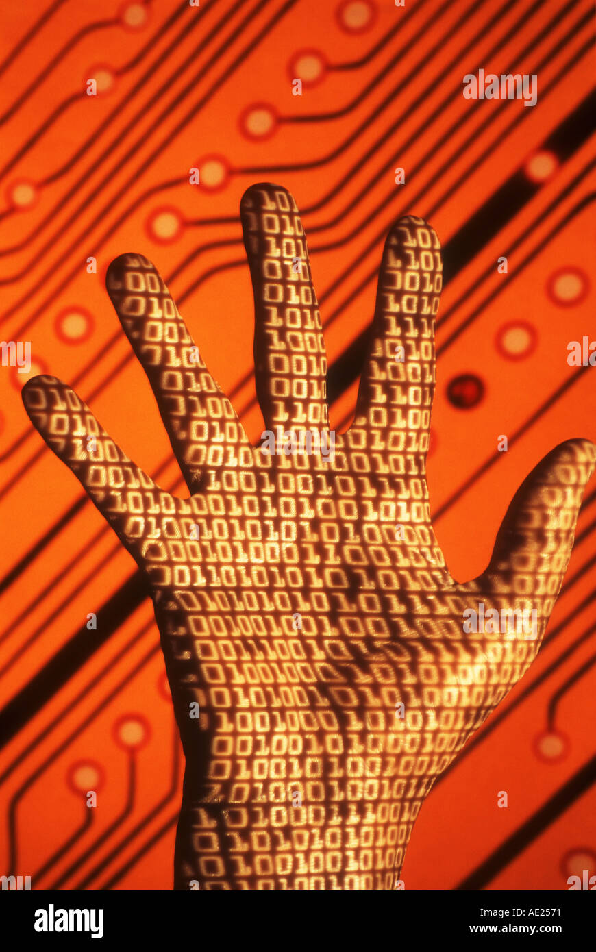 Binary Code Stock Photos Images Alamy On Circuit Board Projected Hand In Front Of Abstract Image