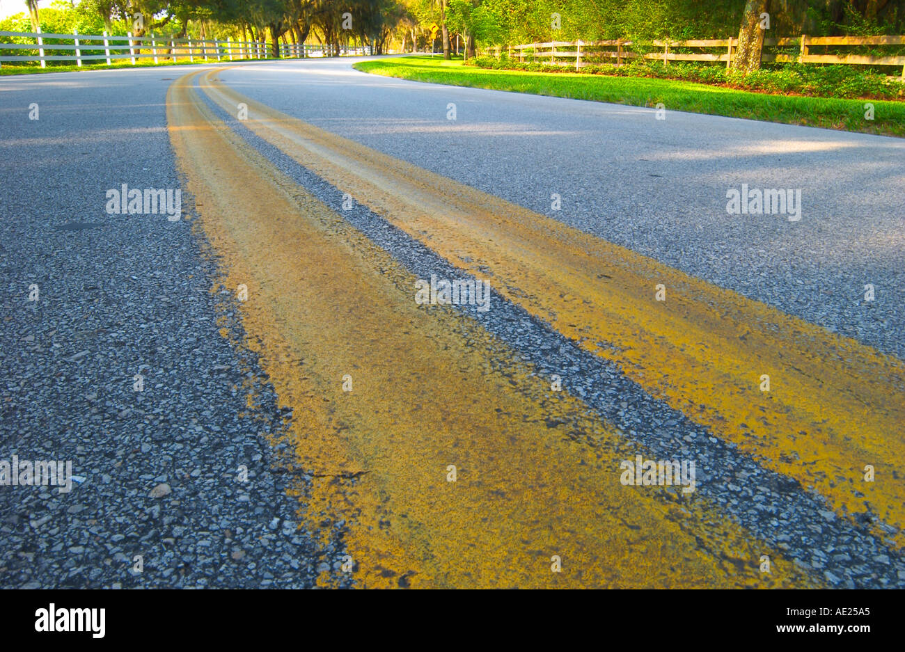 solid yellow lines on road mark no passing zone - Stock Image