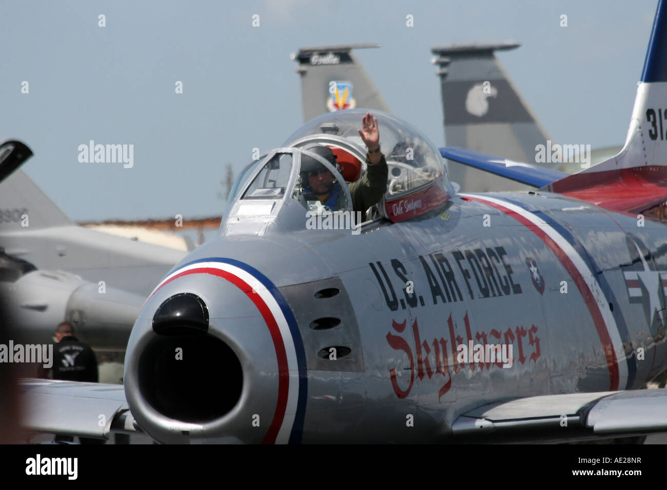 Post World War II Era USAF F-86F Sabre Skyblazers Jet Plane at the 2007 MacDill Air Fest in Tampa Florida USA - Stock Image