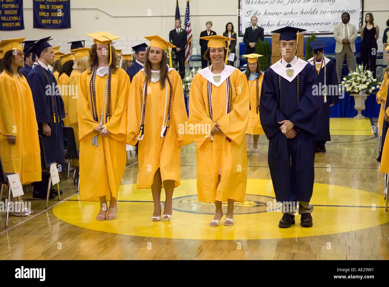 Cap and gown Commencement high school graduation ceremonies at Port ...