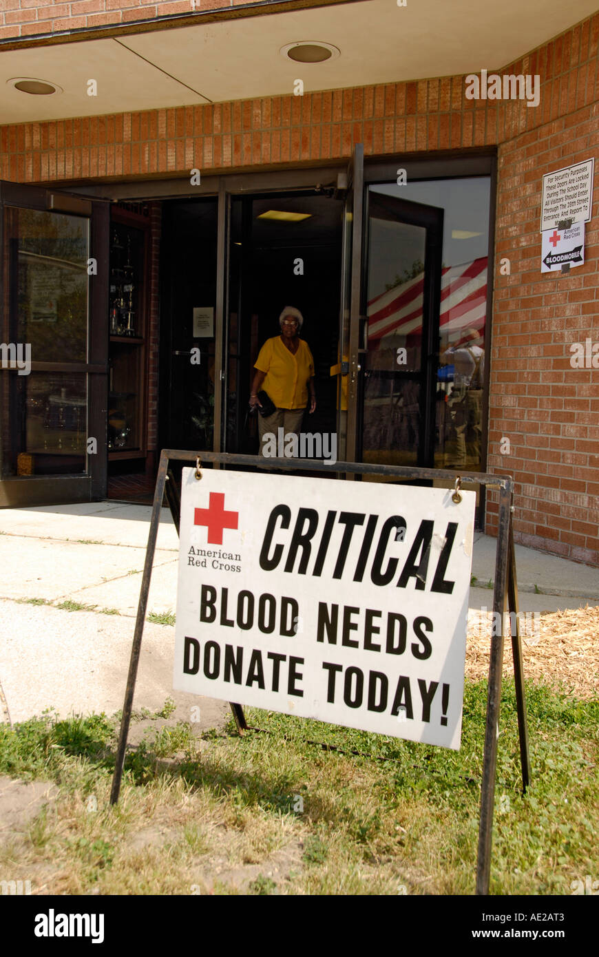 Red Cross conducts a critical need for blood drive - Stock Image