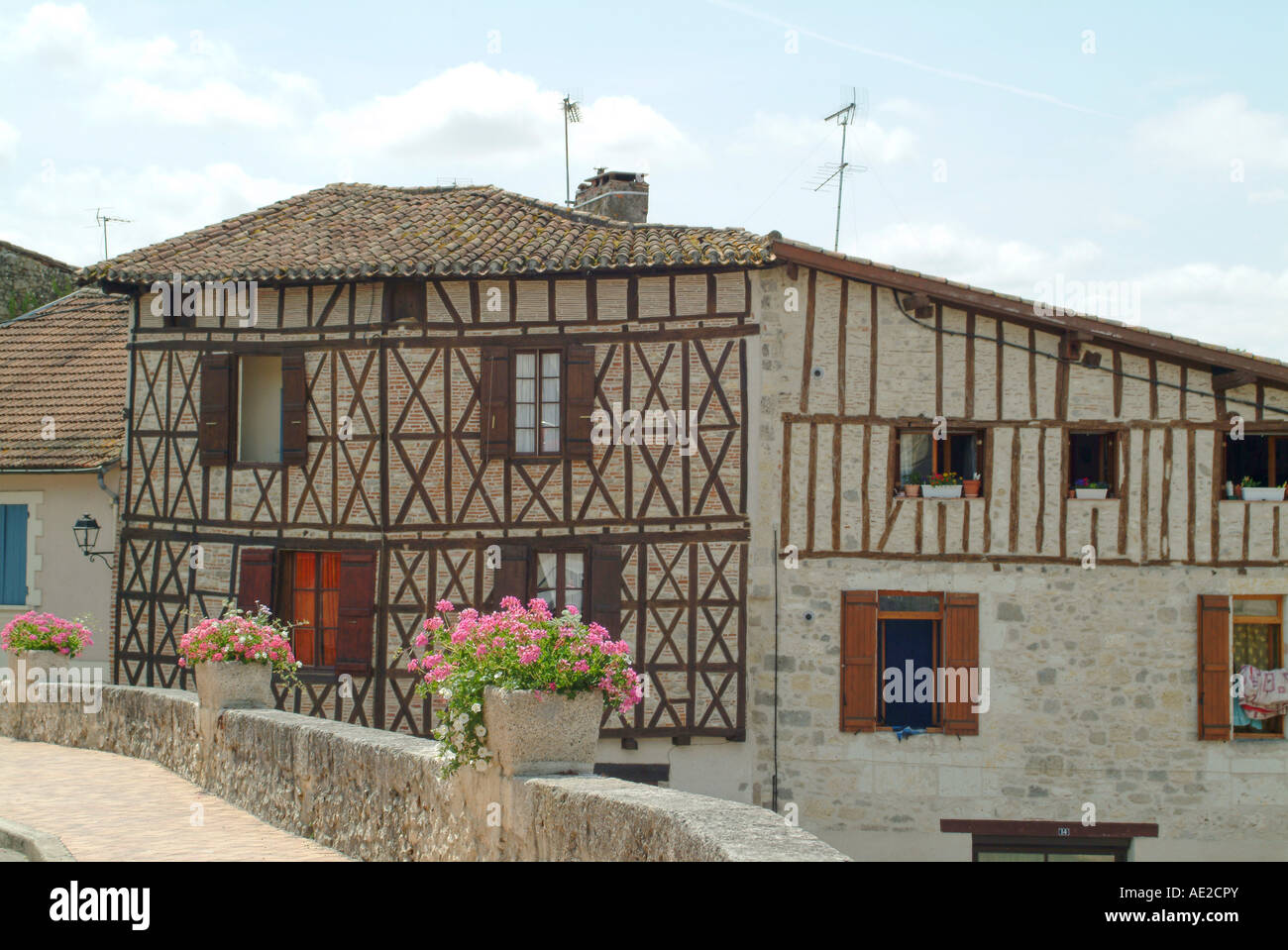 Wood framed house in Nerac - Stock Image