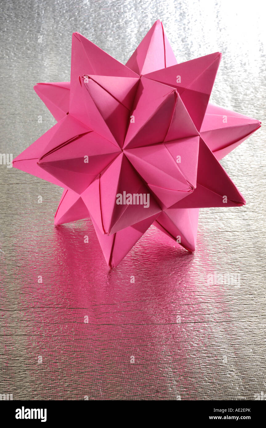 Origami abstract paper figure polyhedron - Stock Image