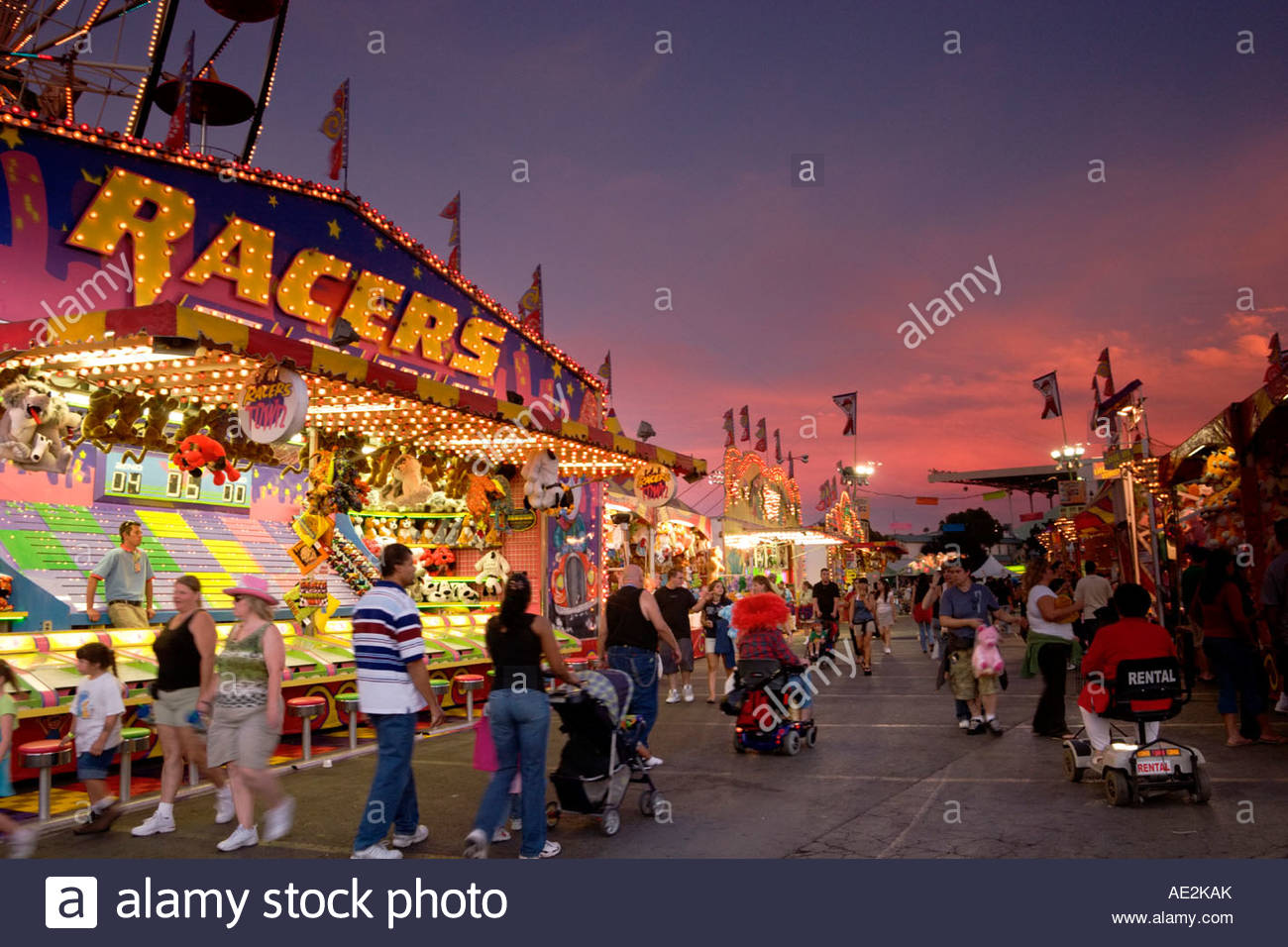 Carnival Games Midway at the Los Angeles County Fair Pomona California - Stock Image