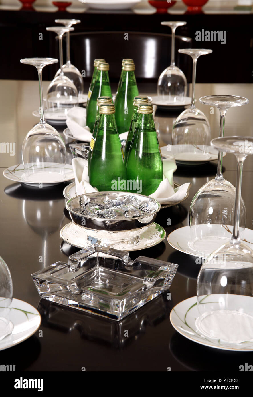 Conference table with water and glasses set up & Conference table with water and glasses set up Stock Photo: 7741506 ...