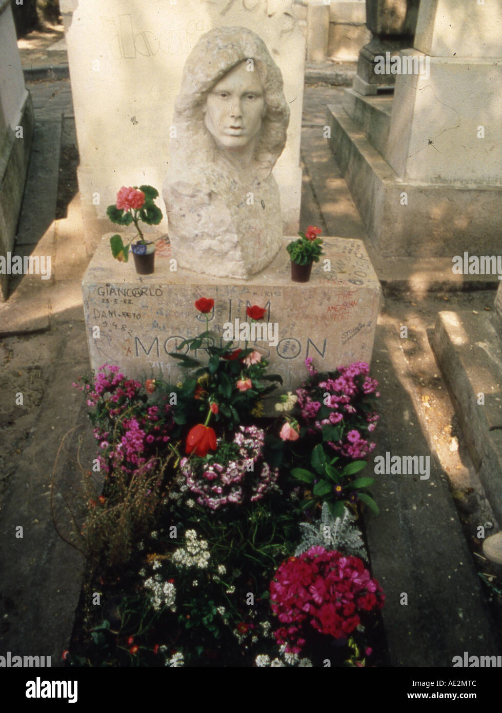 DOORS grave of Jim Morrison in the Pere Lachaise Cemetery in Paris - Stock Image