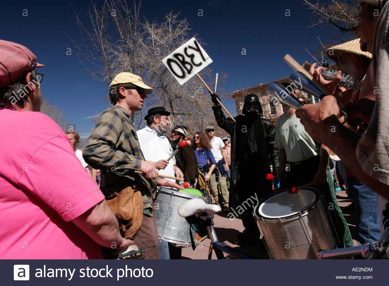Anti Iraq War Protestors Beating Drums Including Darth Vader at the Santa Fe Plaza New Mexico - Stock Image