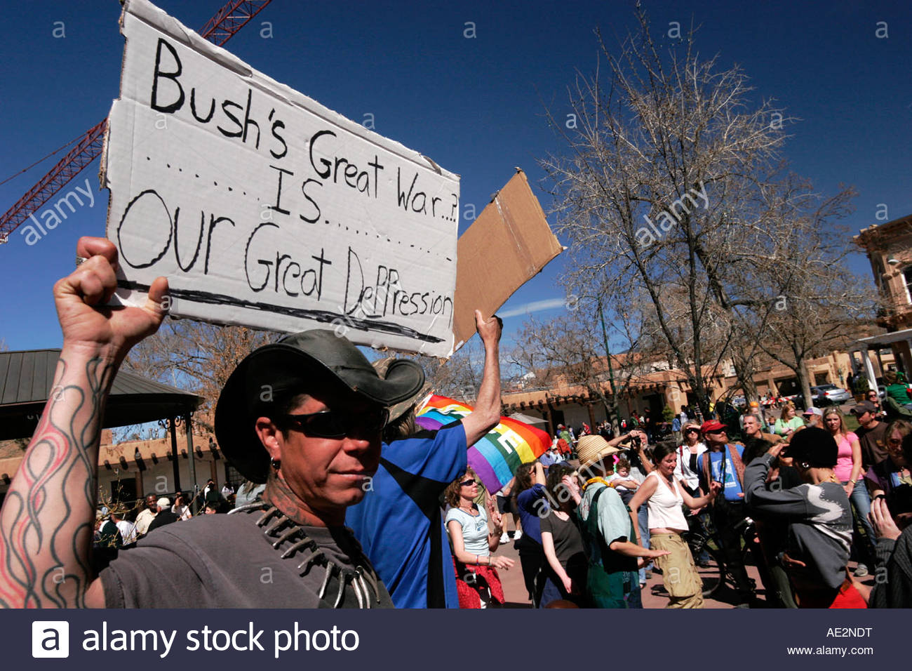Anti Iraq War Protestors Dancing at the Santa Fe Plaza New Mexico - Stock Image