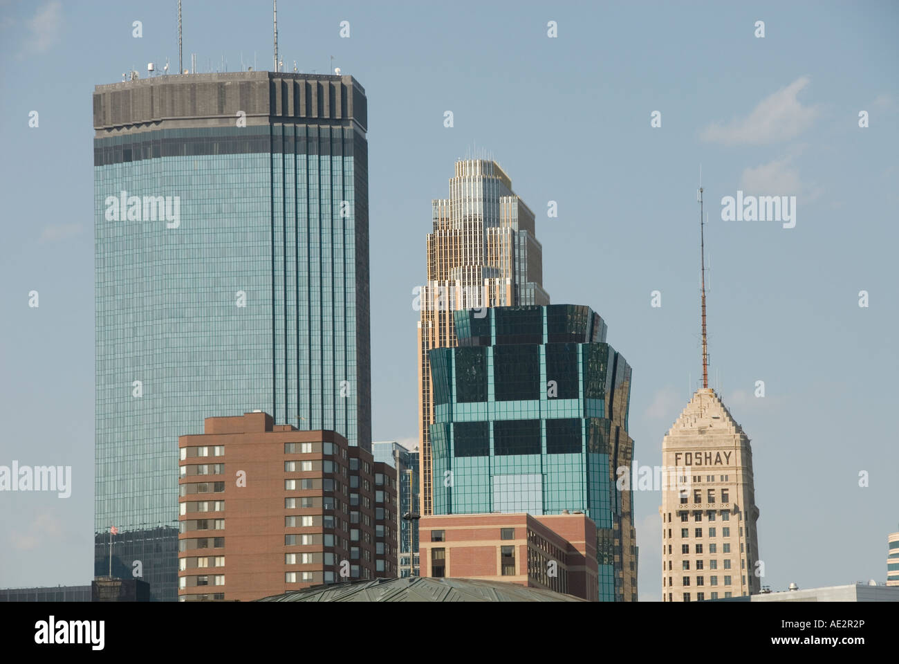 Minnesota Twin Cities Minneapolis Saint Paul Skyscrapers of Minneapolis including the Foshay Tower and IDS Building - Stock Image
