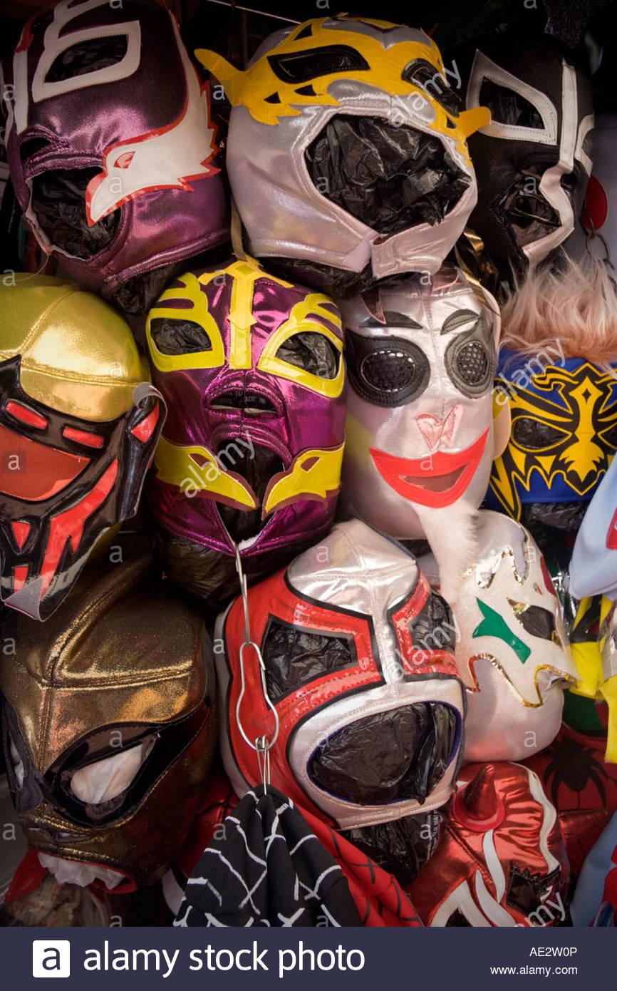 Mexican Luchador Lucha Libre Wrestling Masks at Olvera Street Los Angeles California - Stock Image