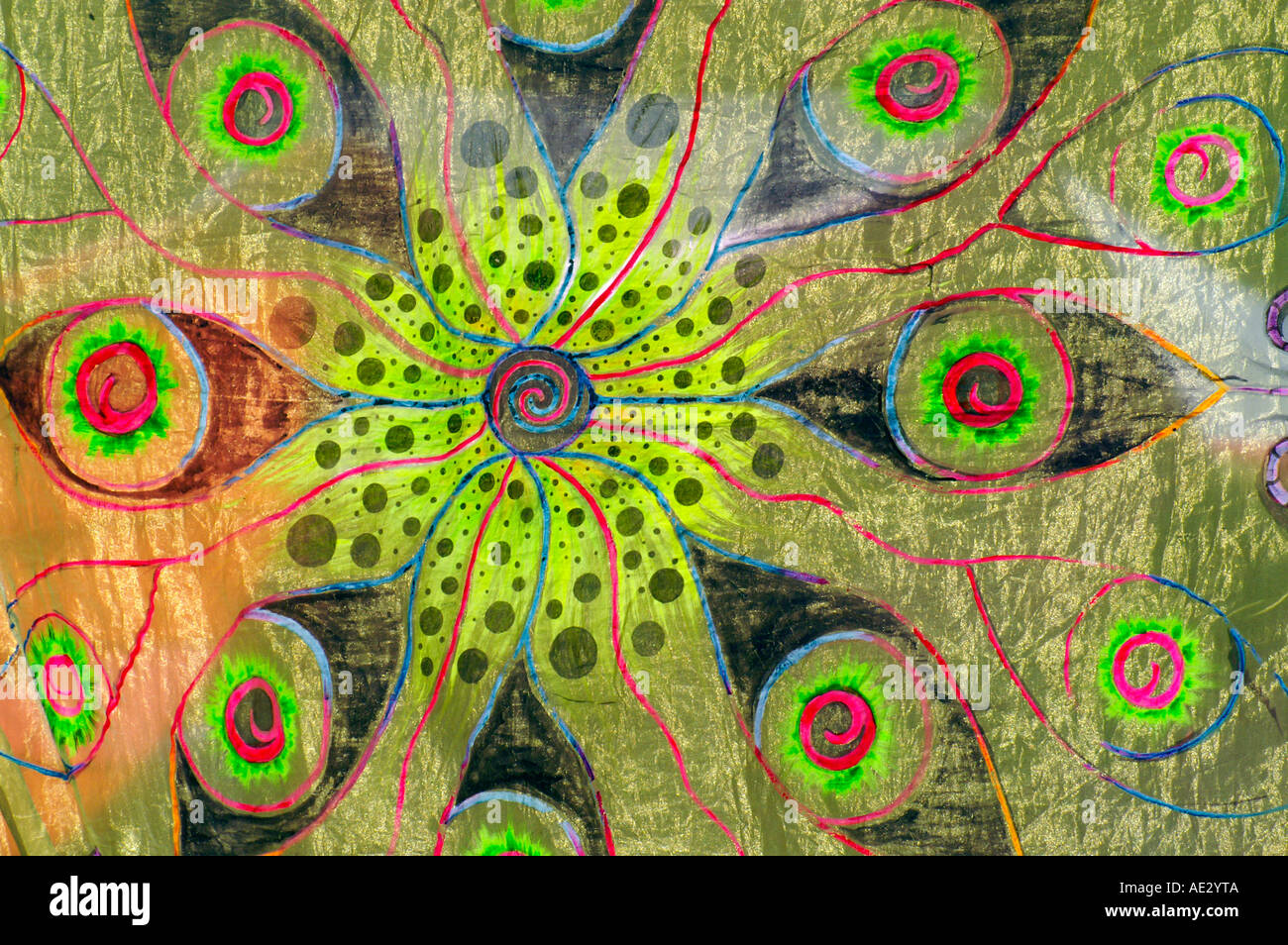 Hilltop 2006 - Colourful mandala psychedelic decoration at rave party - Stock Image