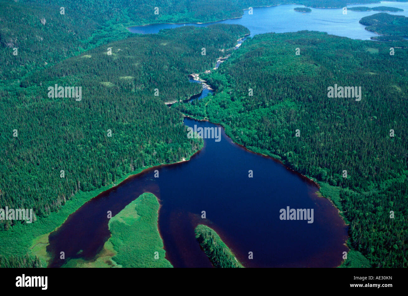 aerial view ,aerien,aerial,vue aerienne,aerial of lake on the moisie river quebec canada - Stock Image
