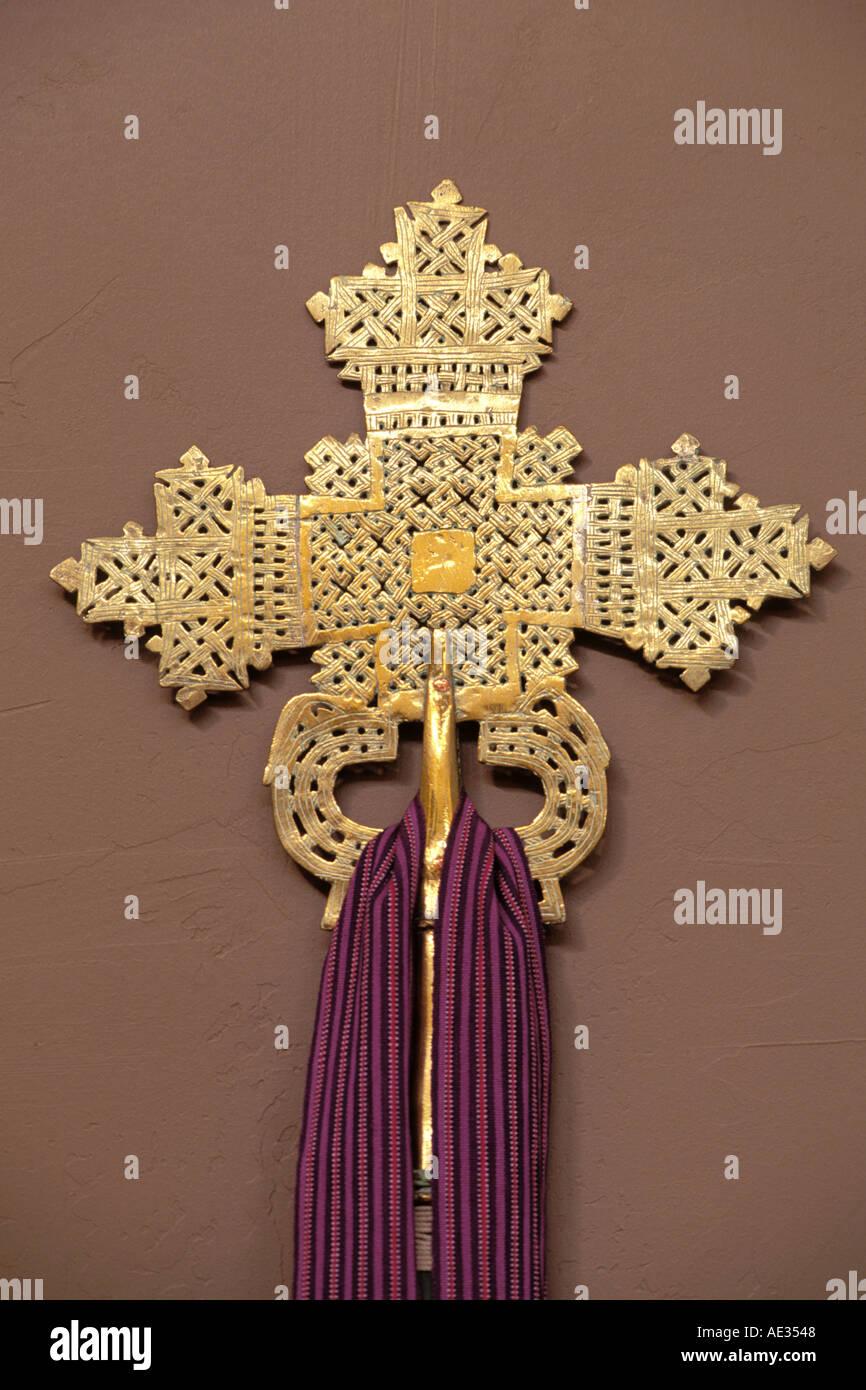 Religious Art, Brass Cross - Stock Image