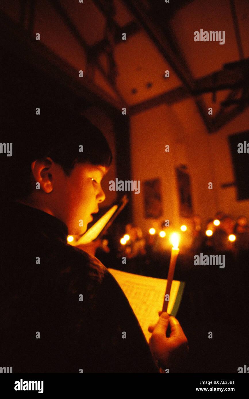 California, San Francisco, St Gregory Nyssen Church, Easter Vigil - Stock Image