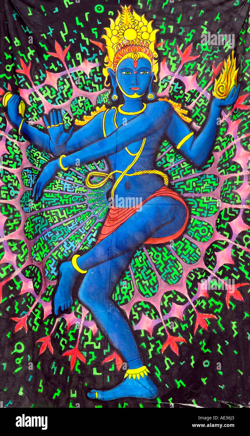 Hilltop 2006 - Dancing Lord Shiva Nataraja God mandala psychedelic decoration painting on canvas at rave party in Slovakia - Stock Image