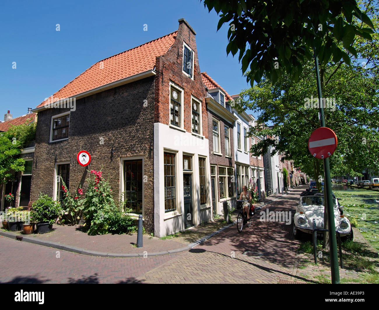 Typical Traditional Old Dutch Houses On Rietveld Canal In The Stock