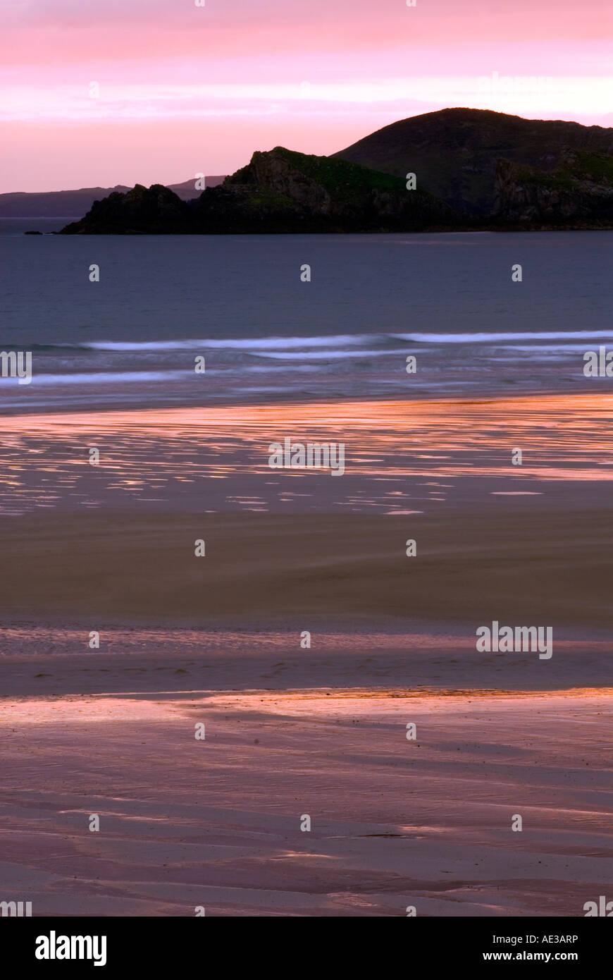 Doug Blane Newgale Sand at sunset Pembrokeshire Wales - Stock Image