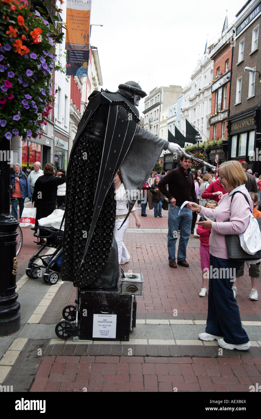 The Winged Wizard street performer Grafton Street Dublin - Stock Image