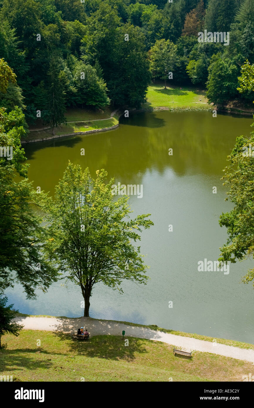 Leisure picnic place near lake just next to Trakoscan Castle in Hrvatsko Zagorje in Croatia Stock Photo