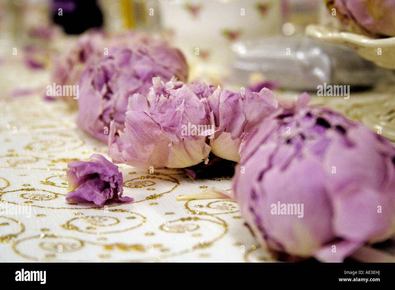 Dried Peonies as table Decorations for a wedding Stock Photo ...