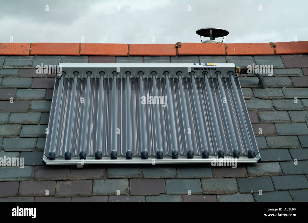The CPC Azzuro Paradigma Solar Heating System on a roof - Stock Image