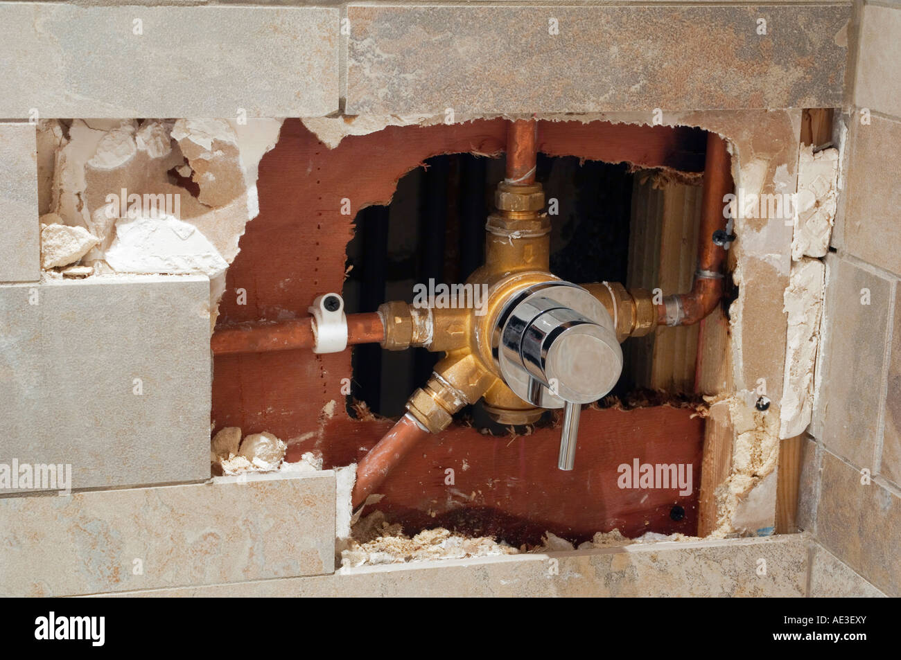 Exposed 4 Way Diverter Valve In Domestic Shower After