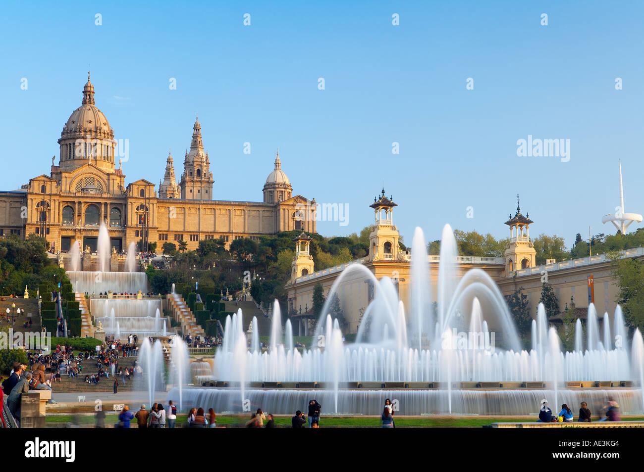 the Font Magica Magic Fountain the Palau Nacional National Palace Montjuic Barcelona Spain - Stock Image