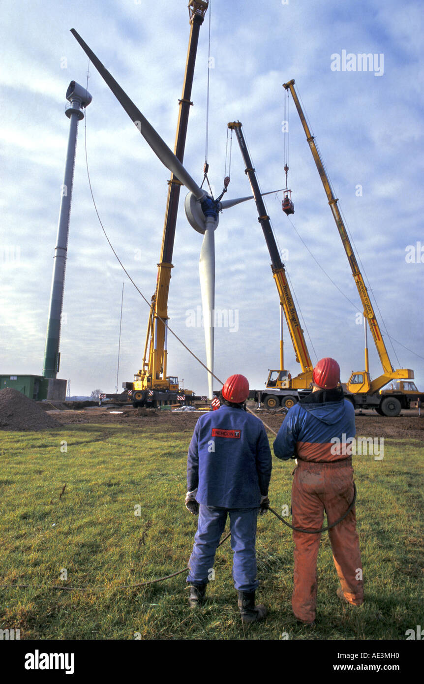 Enercon Wind turbine being constructed at Nympsfield near Stroud Gloucestershire Stock Photo