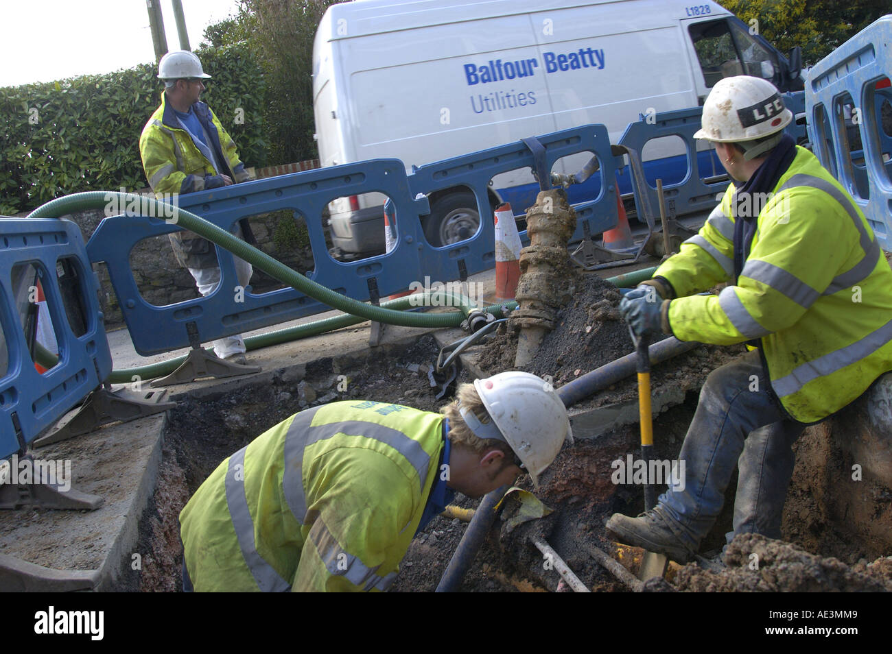 Balfour Beatty for South West Water repair and replace water mains in Bovey Tracey South Devon England - Stock Image