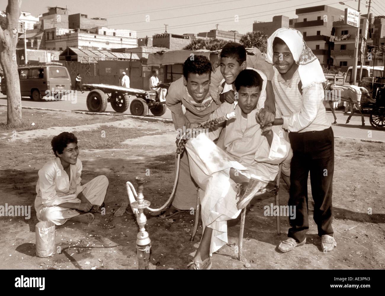 Egyptian Young Men Luxor Egypt - Stock Image