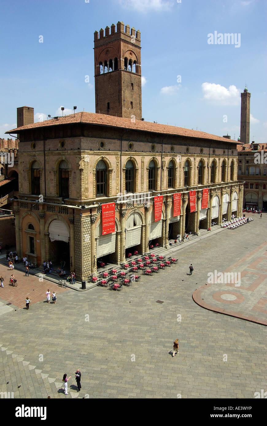 Bologna Italy; Palazzo del Podestà and Palazzo Re Enzo, with Piazza Nettuno and Piazza Maggiore to the right. Stock Photo