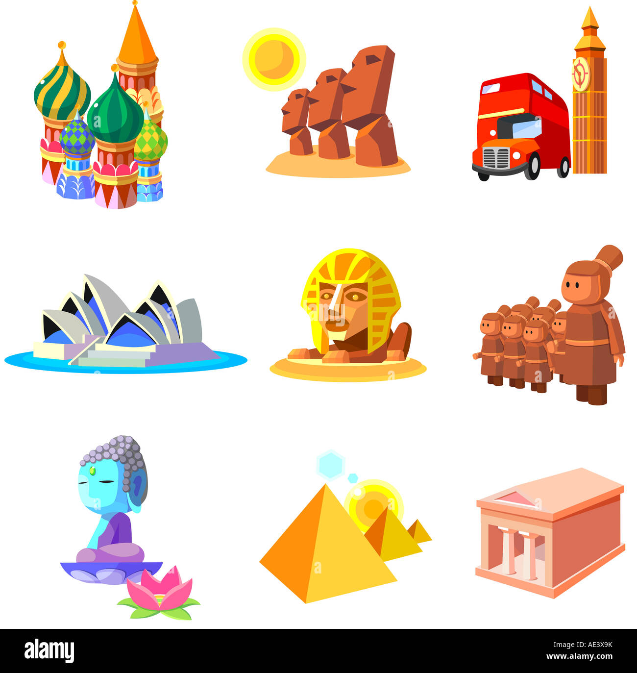 Various monuments of world - Stock Image