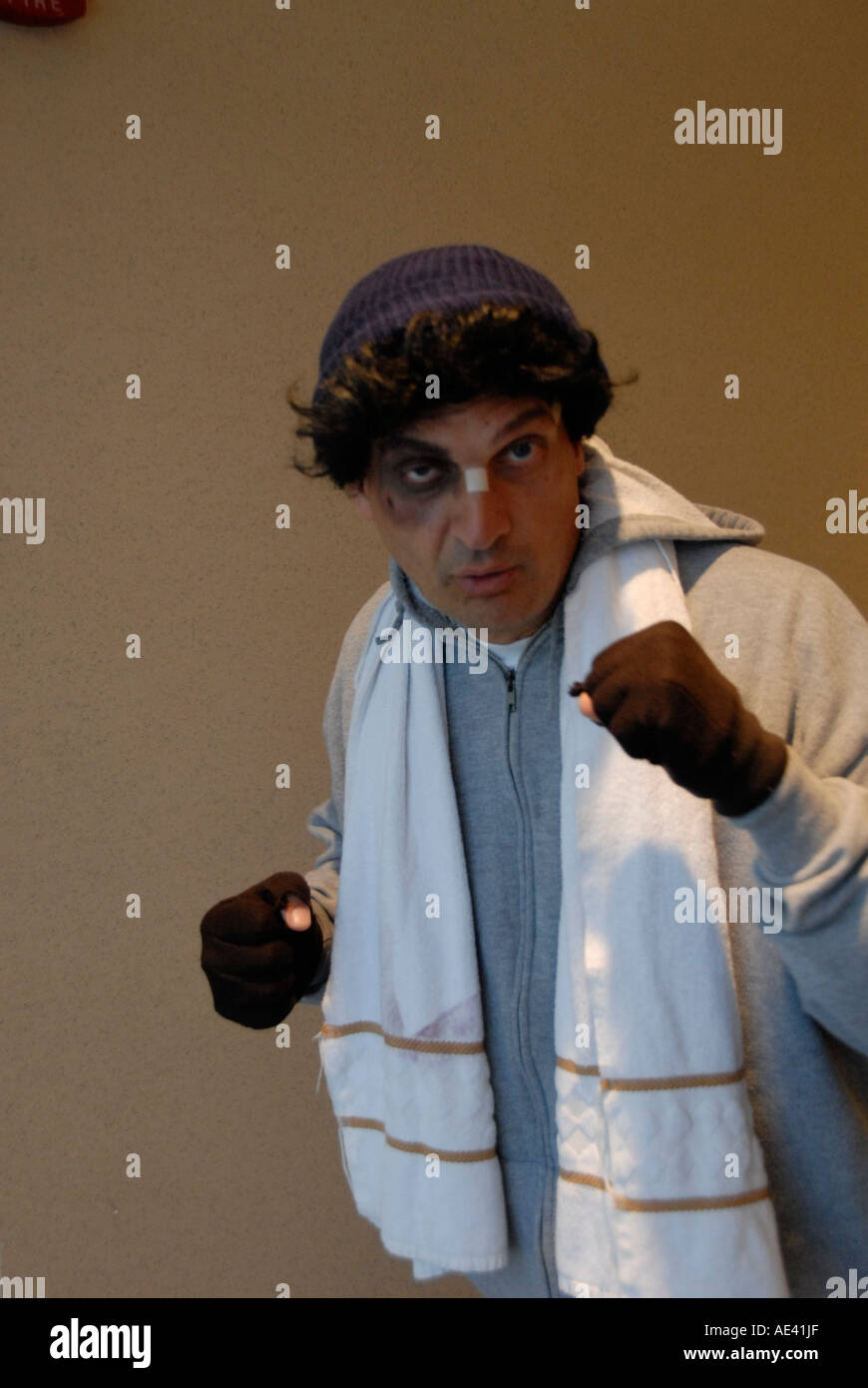 Rocky movie character impersonator mod rel Philadelphia Pennsylvania PA USA - Stock Image