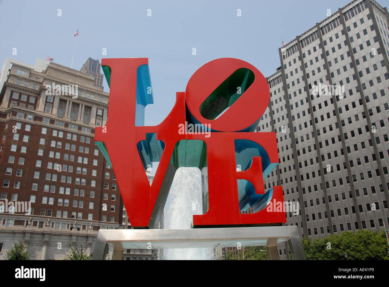 LOVE statue at JFK Plaza Philadelphia Pennsylvania PA USA - Stock Image