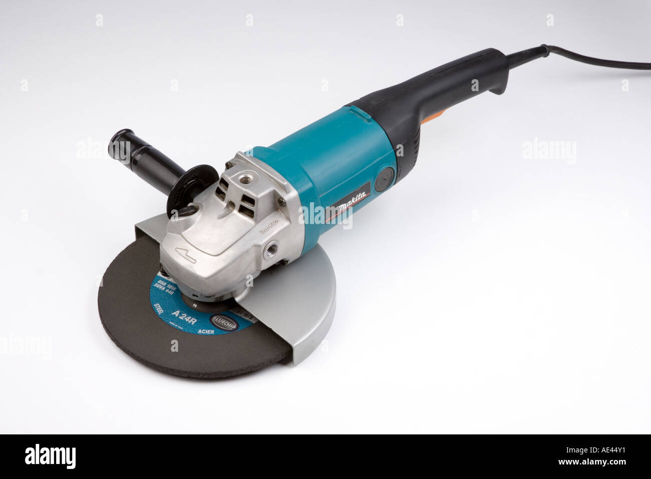 an electric grinder with 9 inch  cutting wheel - Stock Image
