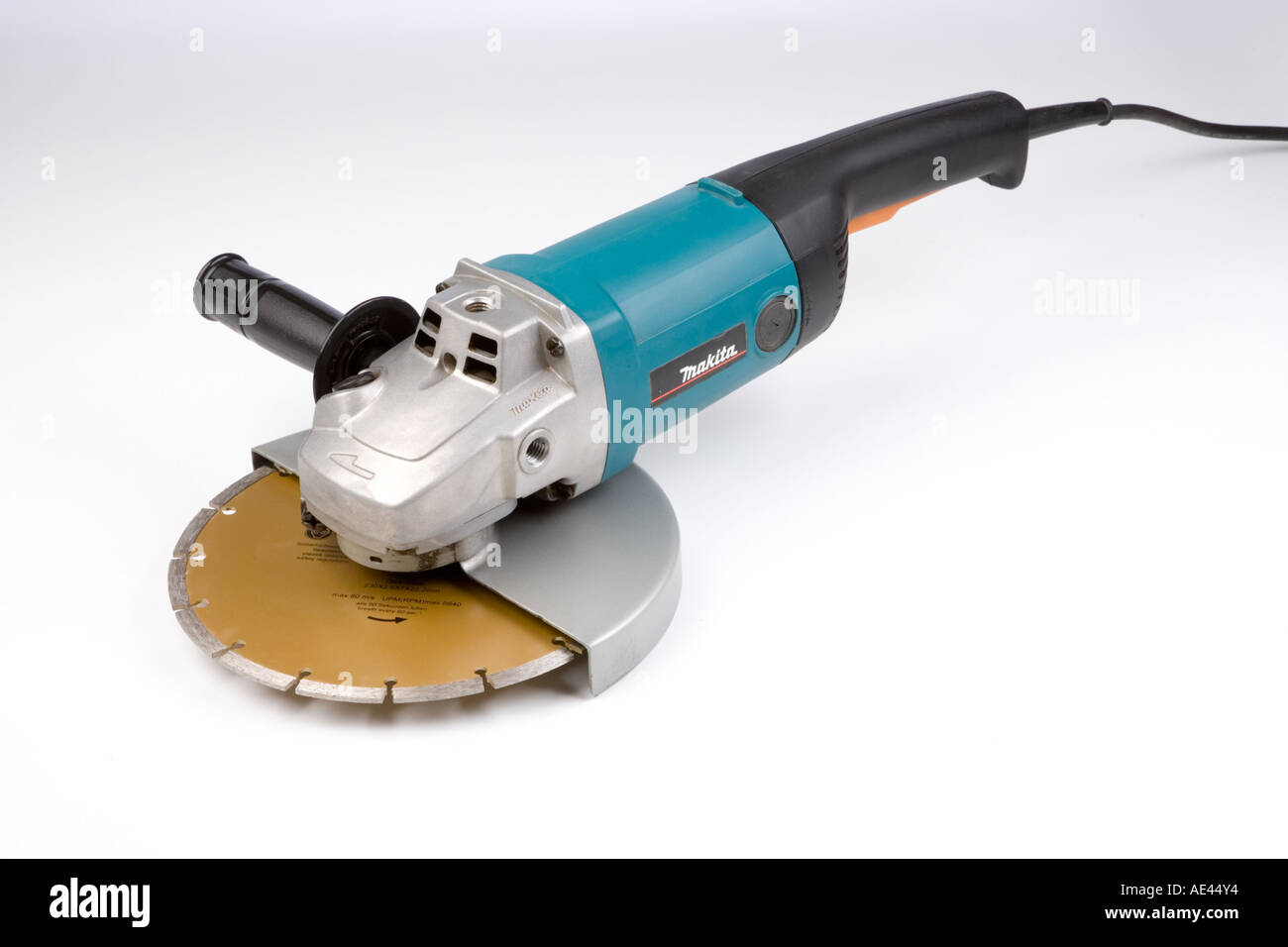 an electric grinder with 9 inch diamond coated cutting wheel Stock Photo